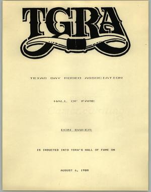 Primary view of object titled '[Hall of Fame certificate to Don Baker from the Texas Gay Rodeo Association]'.