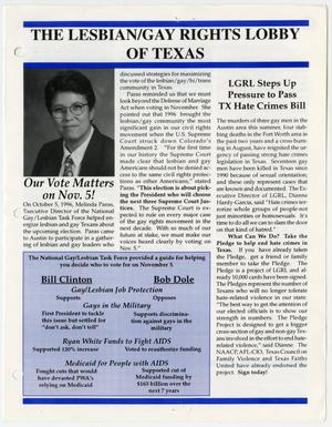 Primary view of object titled '[The Lesbian / Gay Rights Lobby of Texas newsletter concerning voting and hate crimes]'.