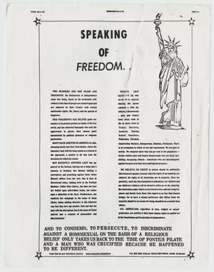 Primary view of object titled '[Brownwood Bulletin: Speaking of Freedom]'.