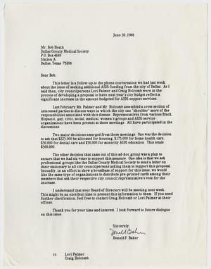 Primary view of object titled '[Letter from Don Baker to Bob Heath concerning the need for funding for AIDS support services]'.