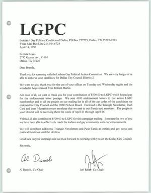 Primary view of object titled '[Letter of endorsement to Brenda Reyes from Al Daniels and Jeri Ritter of the Lesbian Gay Political Coalition]'.