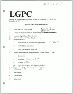 Primary view of object titled '[Lesbian Gay Political Coalition membership meeting agenda for December 1996]'.