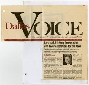 Primary view of object titled '[Newspaper Clipping: Gays mark Clinton's inauguration with lower expectations for 2nd term]'.