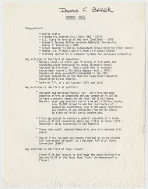 Primary view of object titled 'Donald F. Baker Summary Sheet'.