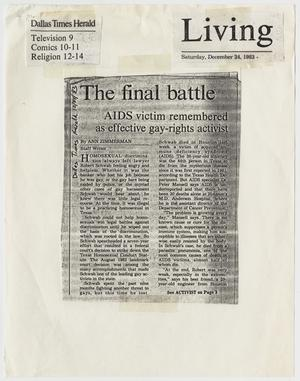 Primary view of object titled '[Dallas Times Herald clipping: The final battle; AIDS victim remembered as effective gay-rights activist]'.