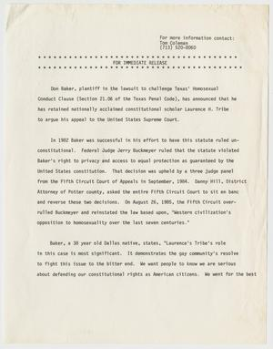 Primary view of object titled '[Press Release: Don Baker challenging Section 21.06 of Texas Penal Code]'.