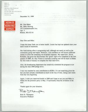 Primary view of object titled '[Letter from KERA producer Rick D. Thompson to Don Baker regarding fund raising]'.