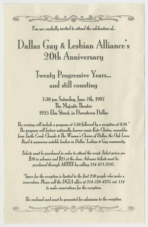 Primary view of object titled '[Dallas Gay and Lesbian 20th Anniversary invitation]'.