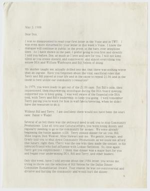 Primary view of object titled '[Letter from John Thomas to Don Baker concerning infighting within the gay community in Dallas]'.