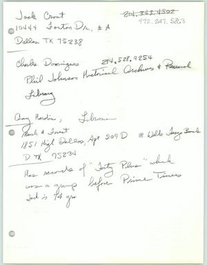 Primary view of object titled '[Handwritten contact information for various people]'.
