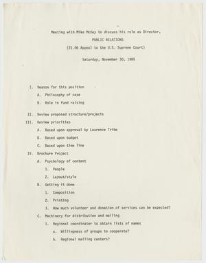 Primary view of object titled '[Notes from meeting with Mike McKay to discuss role as director of public relations for Texas Penal Code case 21.06]'.