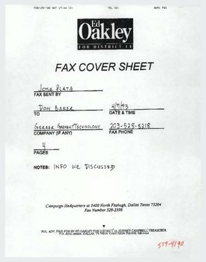 Primary view of object titled '[Fax of letter by Peter Brooks to Lesbian and Gay Political Action Committee members]'.