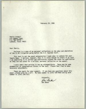 Primary view of object titled '[Letter from Don Baker to Sherry Crowell c/o Lambda Times]'.
