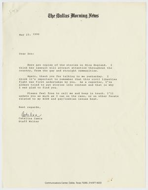 Primary view of object titled '[Letter from Dallas Morning News writer Catalina Camia to Donald Baker]'.