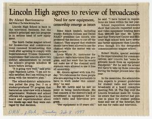 Primary view of object titled '[Newspaper Clipping: Lincoln High agrees to review of broadcasts]'.