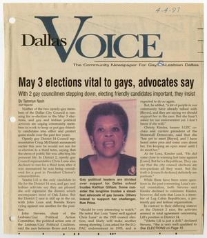 Primary view of object titled '[Newspaper Clipping: May 3 elections vital to gays, advocates say]'.