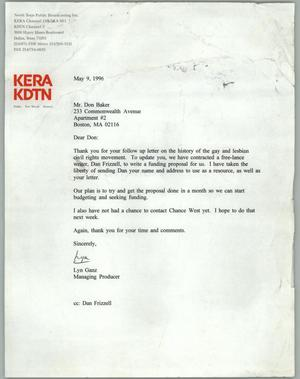 Primary view of object titled '[Letter from Lyn Ganz of KERA to Don Baker regarding information on the gay and lesbian civil rights movement]'.