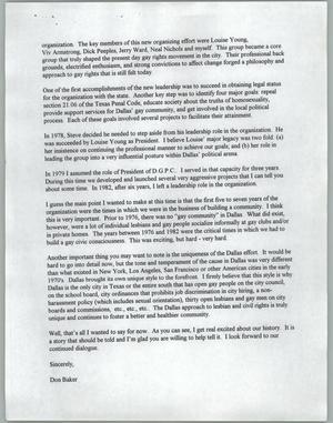Letter from Don Baker to Lyn Ganz of KERA about documentary on the