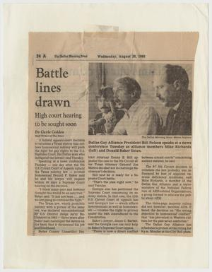 Primary view of object titled '[Dallas Morning News clipping: Battle lines drawn; High court hearing to be sought soon]'.