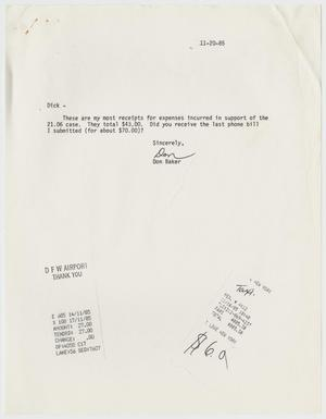 Primary view of object titled '[Letter and receipts from Don Baker to Dick Peeples regarding Texas Penal Code 21.06]'.