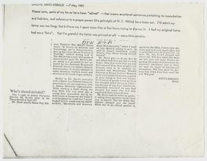 Primary view of object titled '[Photocopy of letter in Dallas Times Herald from Steve Jonsson relating to Don Baker master thesis]'.