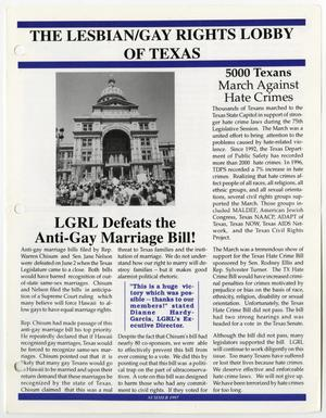 Primary view of object titled '[Lesbian and Gay Rights Lobby of Texas newsletter for Summer 1997]'.