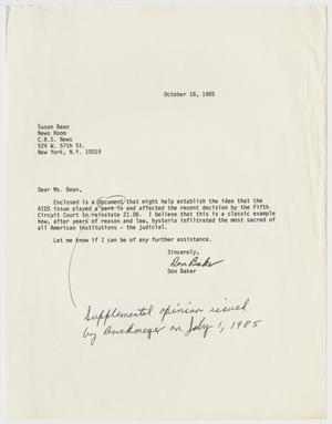 Primary view of object titled '[Letter from Don Baker to Susan Bean]'.