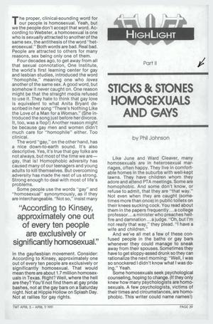 Primary view of object titled '[This Week in Texas article: Sticks & Stones Homosexuals and Gays]'.