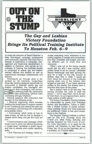 Primary view of object titled '[Out on the Stump: The Gay and Lesbian Victory Foundation Brings Its Political Training Institute to Houston Feb. 6-9]'.