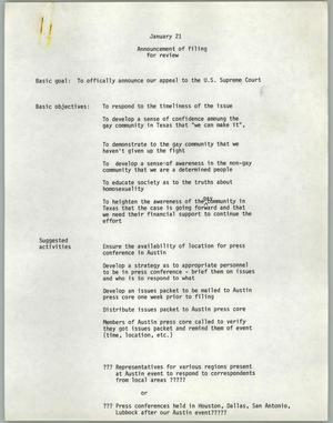 Primary view of object titled '[Announcement of filing for review for Texas Penal Code 21.06 case]'.