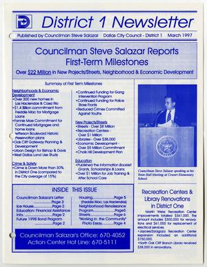 Primary view of object titled '[District 1 Newsletter issue by Dallas Councilman Steve Salazar]'.