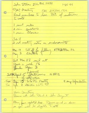 Primary view of object titled '[Handwritten notes from a meeting of the Lesbian Gay Political Coalition PAC]'.