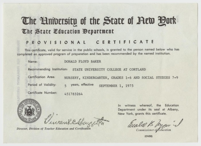Provisional Certificate Of Education For Don Baker From The