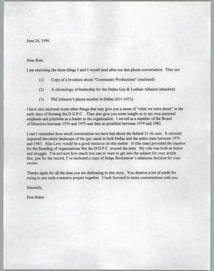 Primary view of object titled '[Letter from Don Baker concerning information on the Dallas Gay Political Caucus]'.