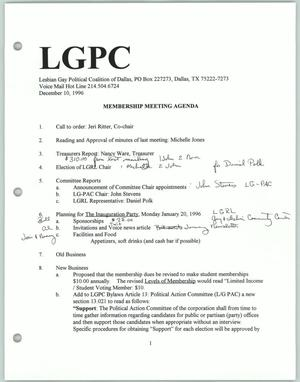 Primary view of object titled '[Lesbian Gay Political Coalition membership meeting agenda]'.
