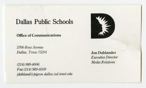 Primary view of object titled '[Dallas Public Schools business card and list of board of education members]'.