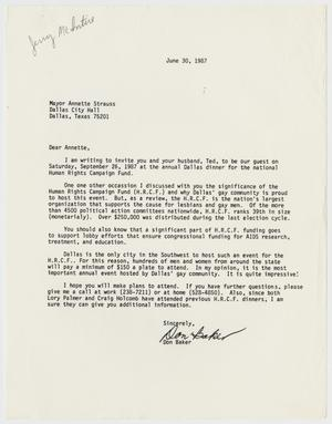 Primary view of object titled '[Letter to Annette Strauss from Don Baker inviting her to the annual Dallas dinner for the Human Rights Campaign Fund]'.