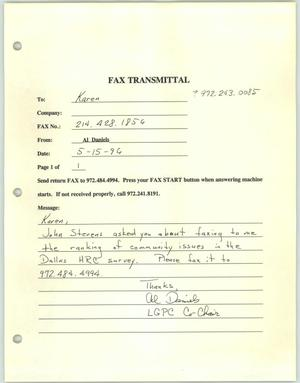 Primary view of object titled '[Fax transmittal from Al Daniels concerning community issues in Dallas]'.