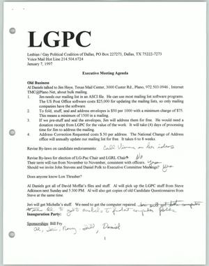 Primary view of object titled '[Lesbian Gay Political Coalition executive meeting agenda for January 1997]'.