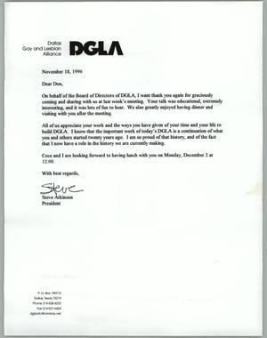 Primary view of object titled '[Letter to Don Baker from Steve Atkinson of the Dallas Gay and Lesbian Alliance thanking him for an appearance]'.