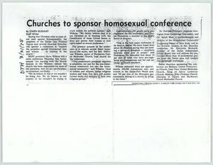 Primary view of object titled '[Copy of Dallas Times Herald clipping: Churches to sponsor homosexual conference]'.