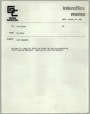Primary view of object titled '[Fax cover sheet from DOn Baker to Tom Coleman concerning loan repayment]'.