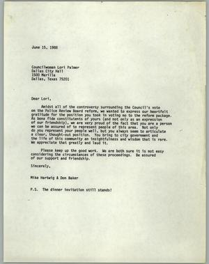 Primary view of object titled '[Letter from Mike Hartwig and Don Baker to Lori Palmer regarding recent votes]'.