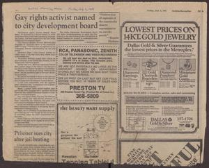 Primary view of object titled '[Dallas Morning News: Gay rights activist named to city development board]'.