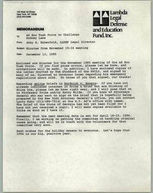Memorandum of cover letter for minutes of meeting of the Lambda ...