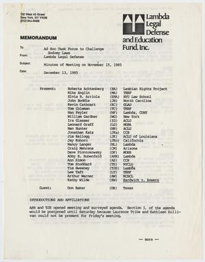 Primary view of object titled '[Memo about Lambda Legal Defense and Education Fund, Inc. in Nov. 15, 1985]'.