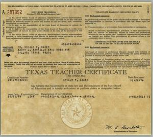 Primary view of object titled '[Texas Teacher Certificate and provisions for Don Baker]'.
