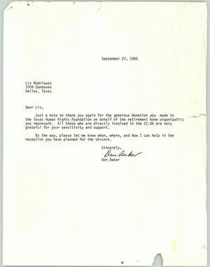 Primary view of object titled '[Letter from Don Baker to Liz Rodriguez]'.