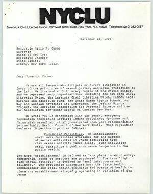 Primary view of object titled '[Letter from New York Civil Liberties Union to Honorable Mario M. Cuomo]'.