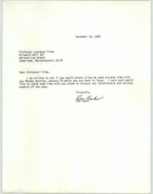 Primary view of object titled '[Letter from Don Baker to meet with Prof. Laurence Tribe]'.